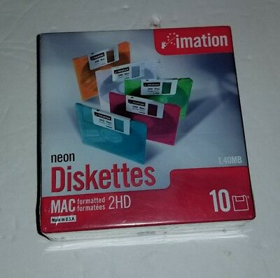 """Imation Neon MAC Formatted 2 HD 1.4 MB 3.5"""" Diskettes 10 NEW NIB Computer"""