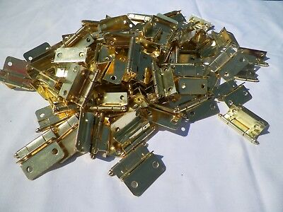 NEW LOT OF 10 pc CABINET HINGES OFFSET BRASS / GOLD
