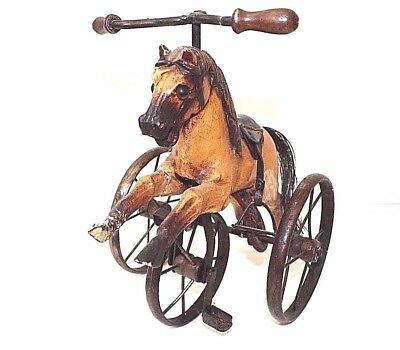 VINTAGE WOODEN TRICYCLE HORSE ON WHEELS JUMPING HORSE With PEDALS H4