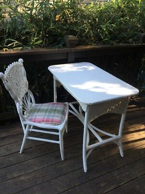Vintage Antique Cottage Chic Shabby White Wicker Office Desk Chair