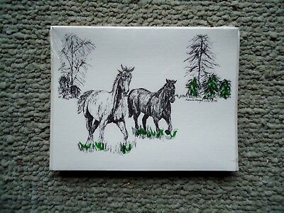 Running Horses 18 Blank Notecards with Linen Style Envelopes New