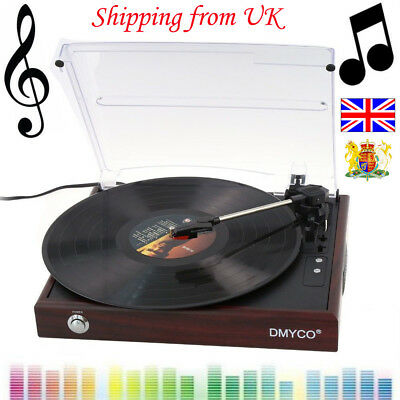 Phono USB PC Belt Driven 3 Speed Record Player Stereo Turntable Speakers Retro