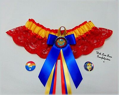 Wonder Woman superhero Lace Bridal Wedding Garter. superman. suicide squad
