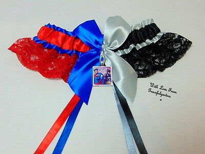 Batman & superman Half n Half Lace Bridal Wedding Garter.