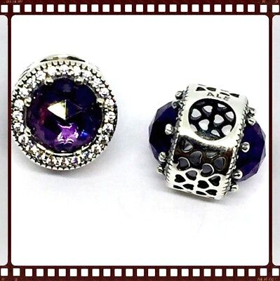 Pandora Silver Radiant Hearts Purple Crystal Charm S925 ALE