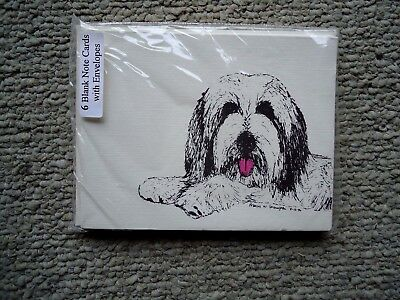 Bearded Collie Dog 18 Blank Notecards with Linen Style Envelopes New