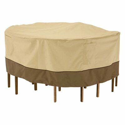 Classic Accessories Veranda Round Table and Chair Set Cover, Beige