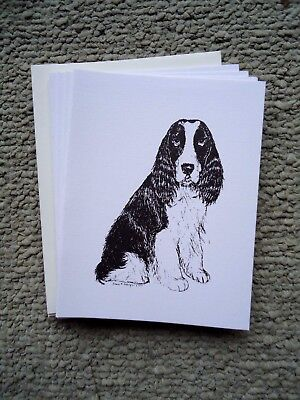 Springer Spaniel Dog 18 Blank Notecards with Linen Style Envelopes New