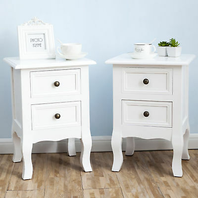 Shabby Chic White Wood 2 Drawer Storage Bedside Table Unit Cabinet Nightstand