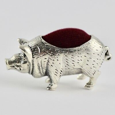 Quality Collectable Victorian Style Pig Pin Cushion 925 Sterling Silver