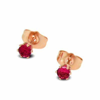 547bc21a5c303c 9ct Rose Gold Filled Womens Small 4mm Stud Earrings Ruby Red CZ Crystals
