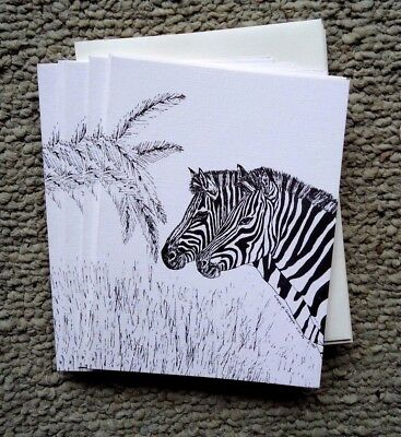 Zebras Pair 18 Blank Notecards with Linen Style Envelopes New