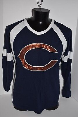 Victorias Secret Pink BLING Chicago Bears Slouchy Varsity Crew NFL EXCLUSIVE L