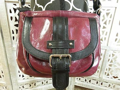 daf6cf516e53 TANO MADE IN ITALY Small Plum Leather Crossbody Purse Hand Bag Shoulder Bag