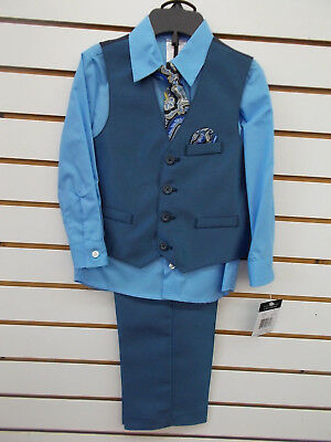 Boys Young Kings by Steve Harvey $50 4pc Blue & Navy Vest Suit Size 4 - 7