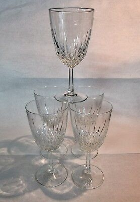 24% Lead Crystal Wine Glasses Set Of (5) From France