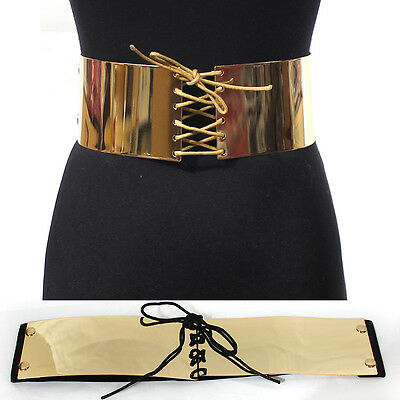 Hot Women Fashion Wide Gold Metal Bling Mirror Bow Tie Plate Waist Belt Obi S~XL