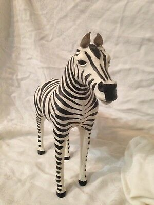 Leather Wrapped Zebra Standing Statue
