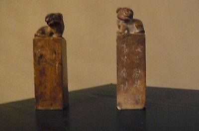 Foo Dogs, two Marble with Asian Stamps on bottom and Asian characters on front