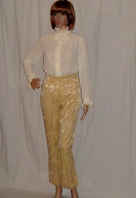 Vintage 1950s Cropped Flares Jeans Pants Trousers H Bar C Western Wear Brocade S