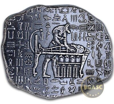 "1 oz .999 Pure/Solid Silver Bullion - Art-Bar: "" Egyptian Relic Bar (Anubis) """