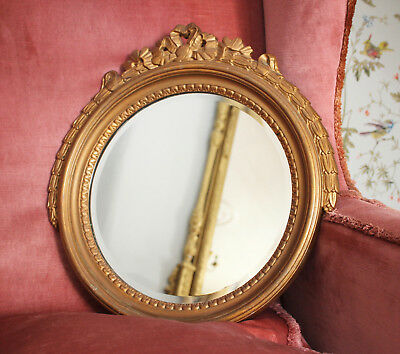 An Unusual Antique BAKELITE Mirror in the Regency Taste, Gilded, Bevelled Glass