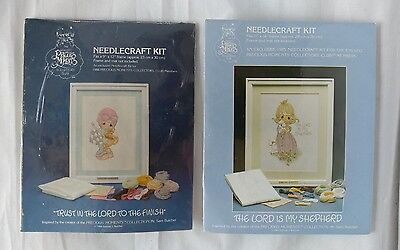 NEW Lot of 2 Vintage Precious Moments Needlecraft Kits 1984 & 1985 SEALED!