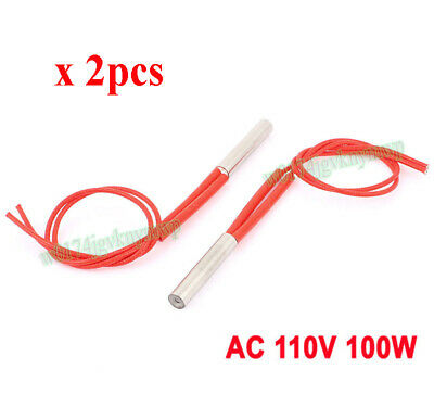 2pcs AC110V 100W Single End Mould Cartridge Heater Tubing Heating Element 8*40mm