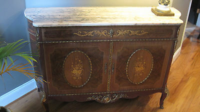 Antique French Italian Marble Top Inlaid Bombay Chest  Bronze Ormulu Louis XV