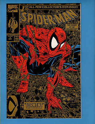 Spider-Man #1 (Aug 1990, Marvel) VF/NM????? Gold Cover 2nd Print