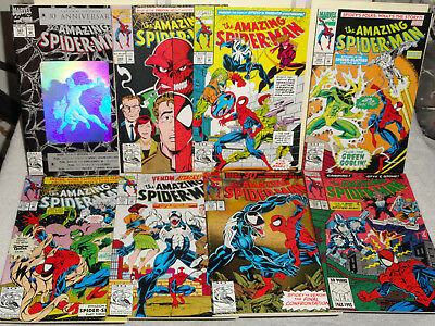 Marvel AMAZING SPIDER-MAN (VOL 1) 8 BOOK LOT # 365-374 375 376 VENOM CARDIAC VF