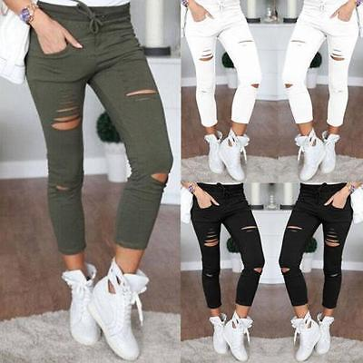 Women Skinny Ripped Holes Jeans Pants High Waist Stretch Slim Pencil Trousers BB