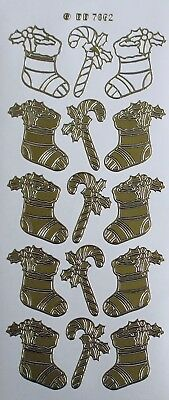 Christmas Stockings PEEL OFF STICKERS Stocking Candy Canes Holly Gold or Silver