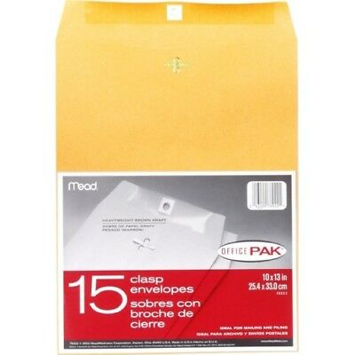 15 Pc 10x13-Inch Mead Clasp Paper Envelope Set For Mailing Filing Office Supply