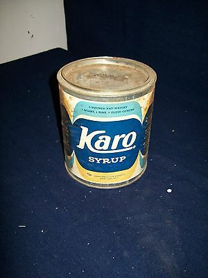"Primitive old Karo Syrup empty vintage 6"" tall tin can"