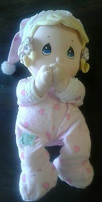 Precious Moments Now I Lay Me Prayer Blonde Hair With Pink PJ's & Hat Plush Doll