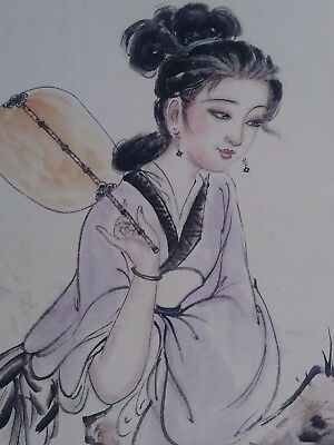 Original Antique Chinese Painting of A Very Beautiful Girl - Signed