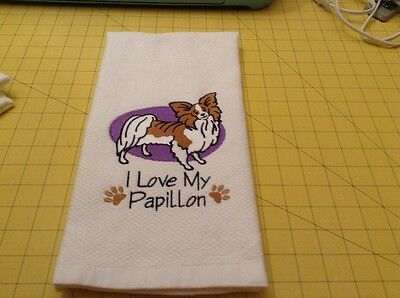 I Love My Papillon embroidered Kitchen Hand Towel 100% cotton xtra lg