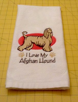 I Love My Afghan Hound Embroidered Kitchen Hand Towel 100% cotton