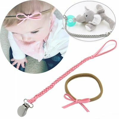 Baby Infant Braided Pacifier Clips Holder Faux Leather Chain Strap+ Bow Headband