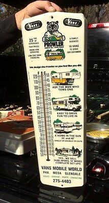 Vintage Metal Vans Prowler Travel Trailer Camper RV Thermometer Sign gas oil Wow