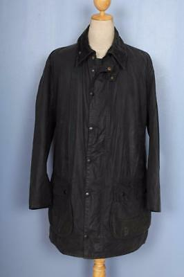 Mens BARBOUR Border WAXED Jacket Navy Size 44