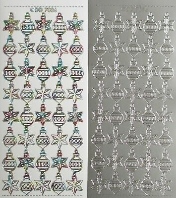 Tiny Baubles PEEL OFF STICKERS Christmas Stars Bauble Star Cardmaking Small