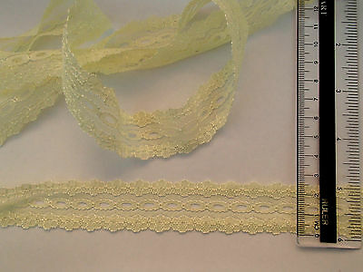 knitting in/coathanger eyelet lace 10 metres x 28mm wide in pale lemon