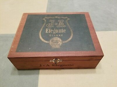 Rare Vintage 1930's J.a. Elegante Hand Selected Specialty Cured Wood Cigar Box