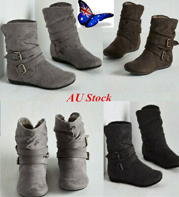 AU Women's Winter Snow Boots Mid-Calf Solid Flats Warm Plush Suede Ankle Shoes
