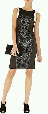 KAREN MILLEN Black and White Lace Embroidered Satin Pencil Dress