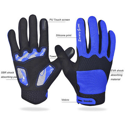 Winter Touch screen PU Cycling Gloves Unisex Outdoor Giant Riding Gloves Blue M