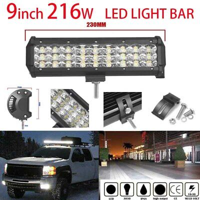 9INCH 216W CREE Led Light Bar Flood Spot Combo Driving Offroad 4x4WD Truck ATV