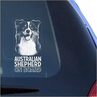 Australian Shepherd Clear Vinyl Decal Sticker Portrait for Window, Aussie Dog